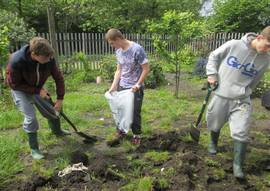 Young people gardening as part of Engage Project